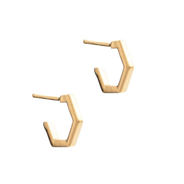 Rachel Jackson - Rachel Jackson Mini Gold Hexagon Hoops - Designer Earrings - Silverado