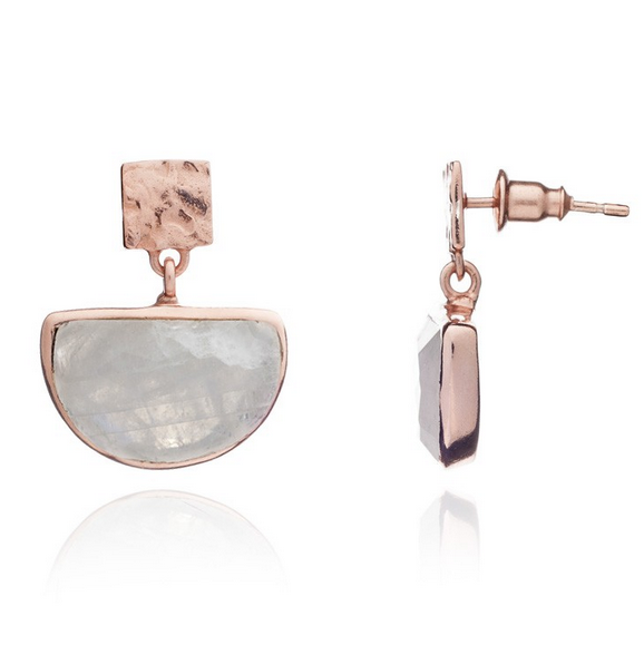 Azuni Skylar Earrings - Rose Gold and Moonstone