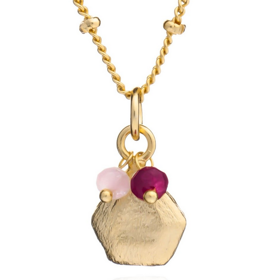 Azuni - Azuni Alaya Necklace - Rose Quartz and Garnet - Designer Necklaces - Silverado
