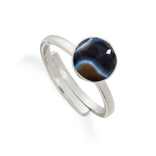 SVP Jewellery Striped Black Onyx and Silver Starman Ring