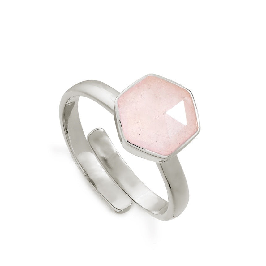 SVP Jewellery Silver and Rose Quartz Firestarter Ring