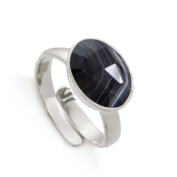 SVP Jewellery Silver and Striped Black Onyx Maxi Atomic Ring