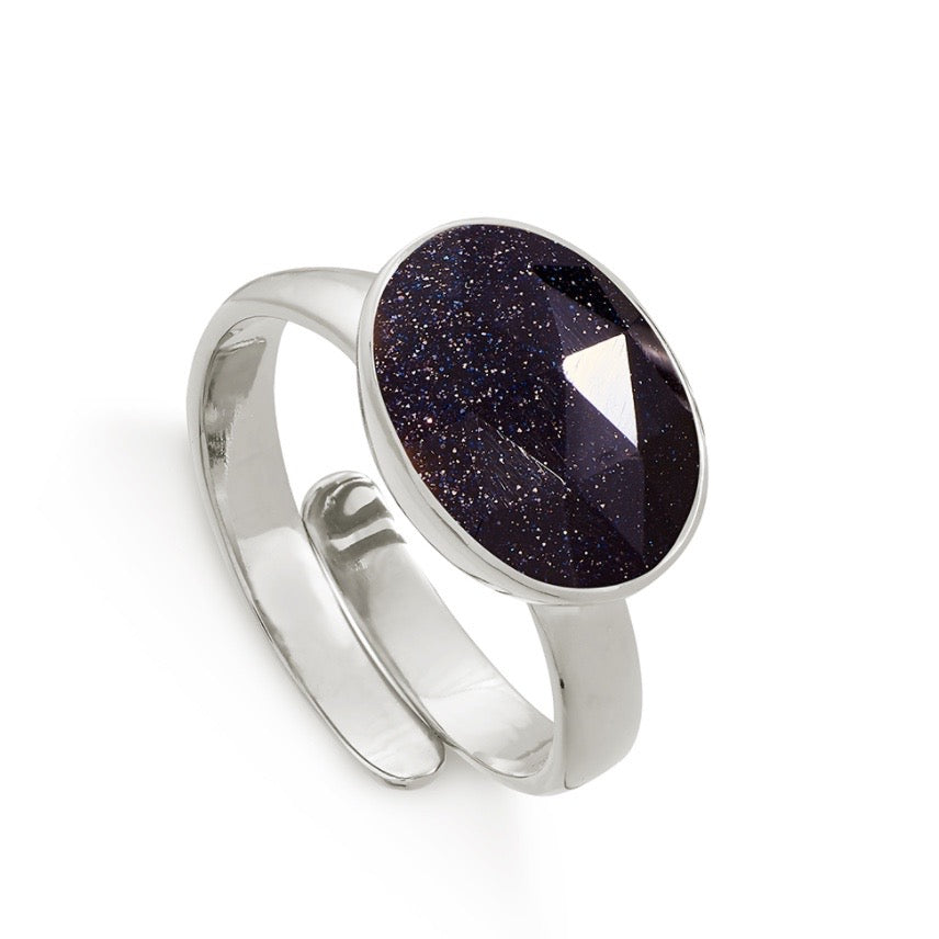 SVP Jewellery - SVP Jewellery Silver and Blue Sunstone Maxi Atomic Ring - Designer Rings - Silverado