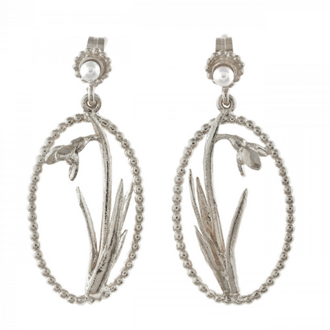Alex Monroe Silver Snowdrop Pearl Earrings
