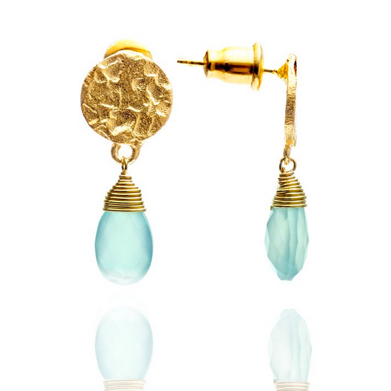 Azuni - Azuni Aqua Chalcedony Drop Earrings - Designer Earrings - Silverado