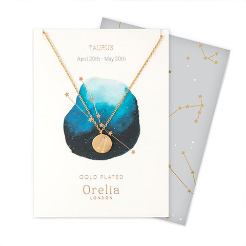 Orelia Constellation Disc Necklace - Taurus