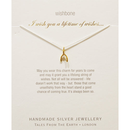 tales from the earth wishbone necklace gold silver