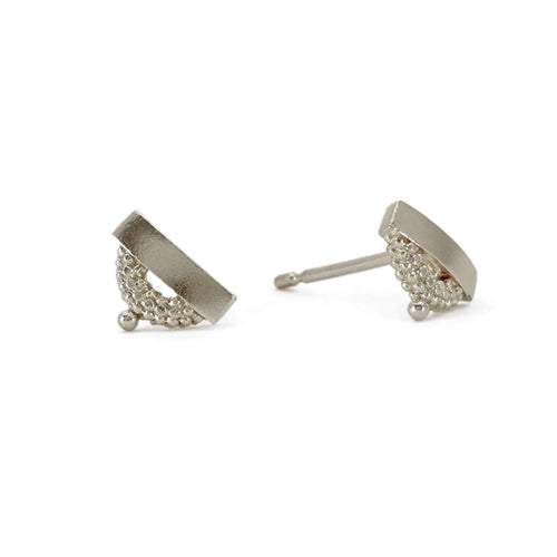 Rosie Kent Silver Pectus Stud Earrings