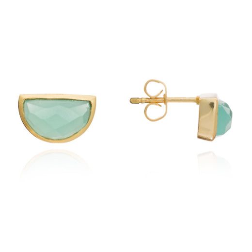 Azuni - Azuni Aqua Chalcedony Half Moon Stud Earrings - Designer Earrings - Silverado