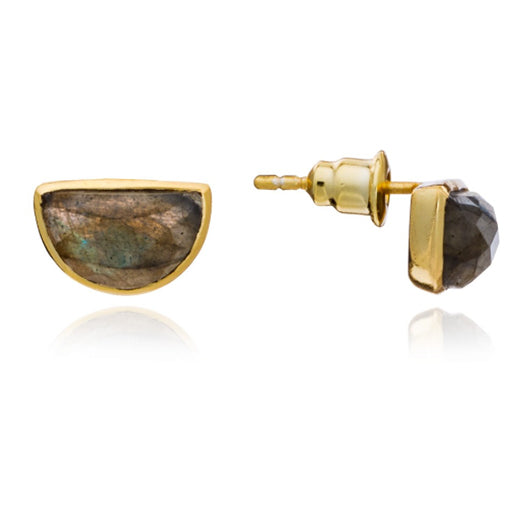 Azuni - Azuni Labradorite Half Moon Stud Earrings - Designer Earrings - Silverado