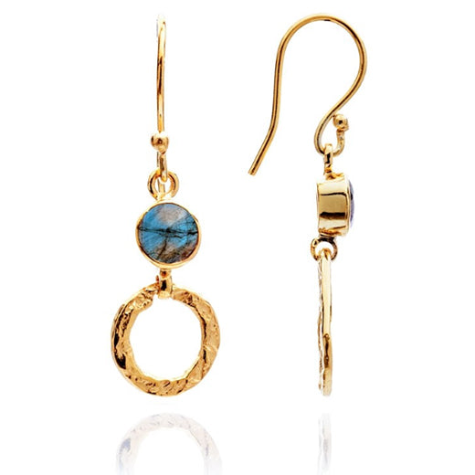 Azuni - Azuni Small Labradorite Hoop Earrings - Designer Earrings - Silverado
