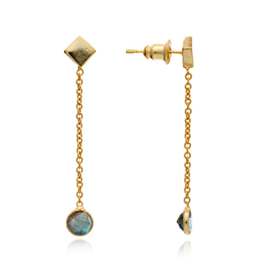 Azuni - Azuni Labradorite 'Adamas' Earrings - Designer Earrings - Silverado