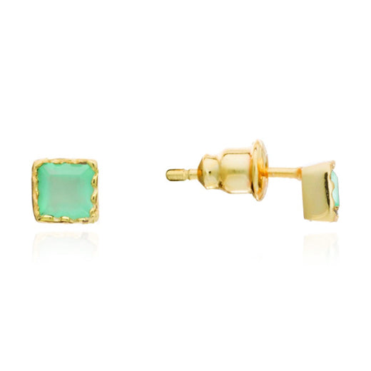 Azuni - Azuni Aqua Mosaic Square Stud Earrings - Designer Earrings - Silverado