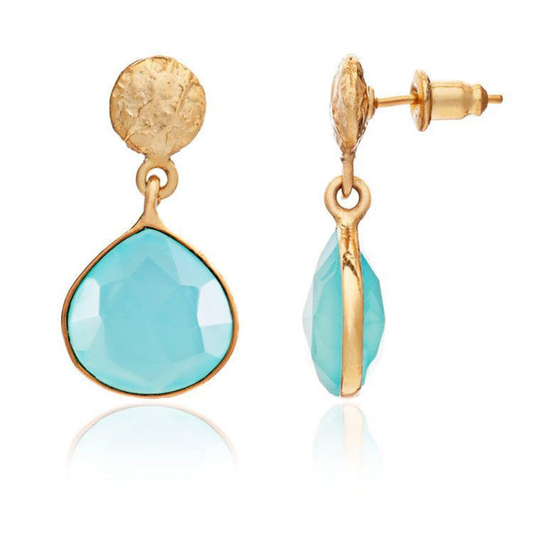 Azuni - Azuni Athena Stone Drop Earrings - Aqua Chalcedony - Designer Earrings - Silverado