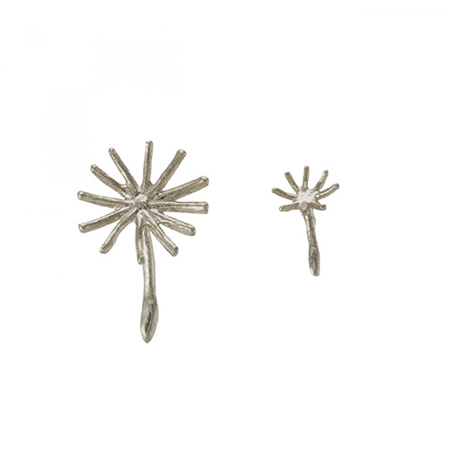 Alex Monroe - Alex Monroe Silver Asymmetric Dandelion Fluff Stud Earrings - Designer Earrings - Silverado
