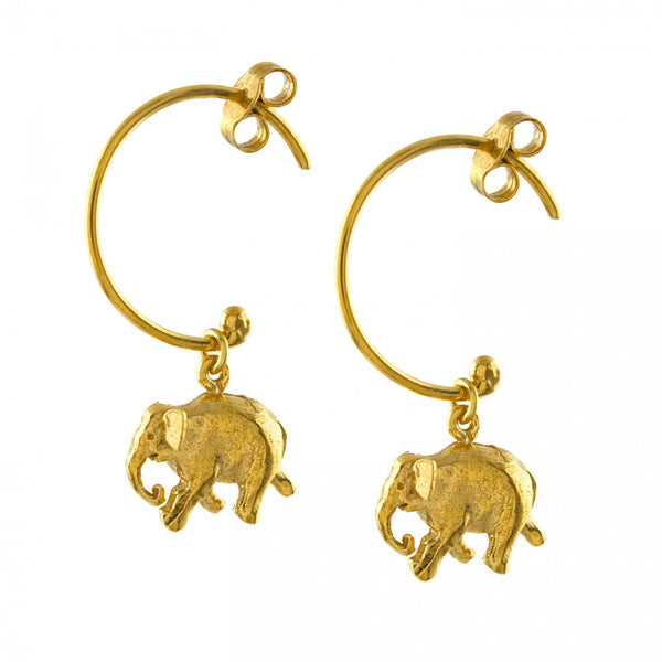 Alex Monroe - Alex Monroe 'Bon Voyage' Indian Elephant Hoop Earrings - Silverado - Designer Necklaces - 1