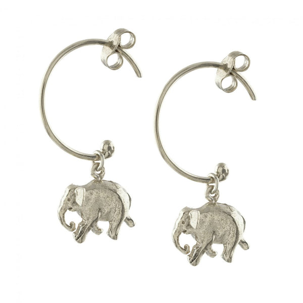 Alex Monroe - Alex Monroe Silver Indian Elephant Hoop Earrings - Designer Earrings - Silverado