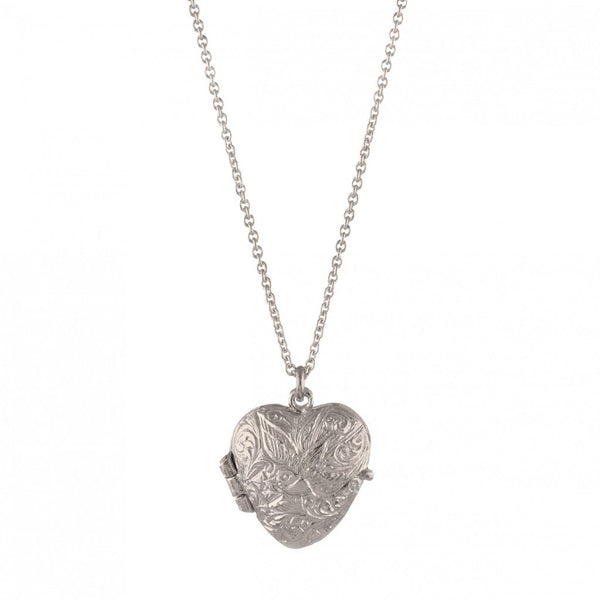 Alex Monroe - Alex Monroe Silver Swallow and Heart Locket - Designer Necklaces - Silverado