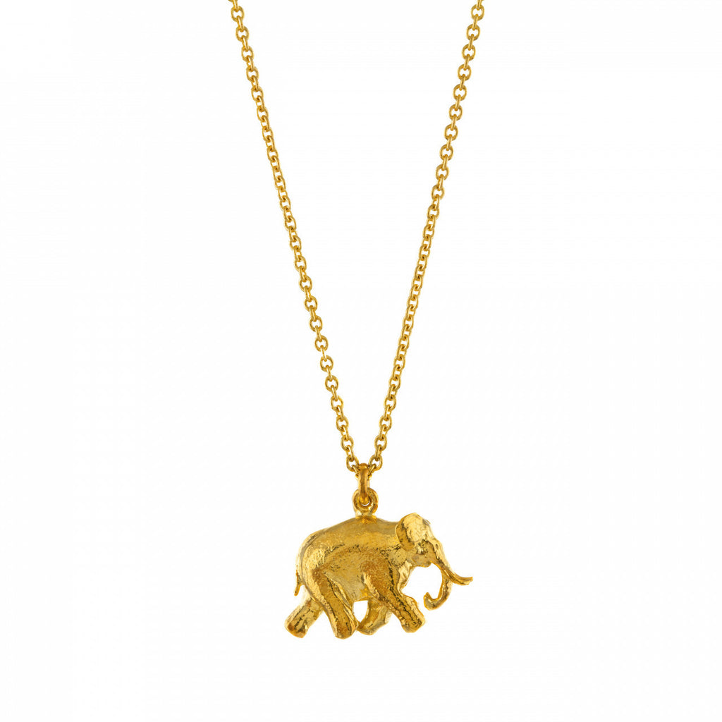 Alex Monroe - Alex Monroe 'Bon Voyage' Indian Elephant Necklace - Silverado - Designer Necklaces - 1