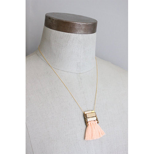 David Aubrey - David Aubrey Peach Tassel Necklace - Designer Necklaces - Silverado