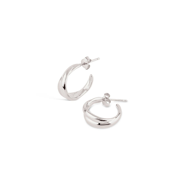 Dinny Hall - Dinny Hall Silver Twist Mini Hoops - Designer Earrings - Silverado