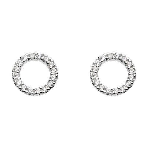 Sparkling Open Circle Studs Sterling Silver Silver Earrings Silverado Jewellery