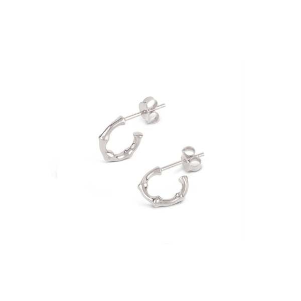 Dinny Hall - Dinny Hall Silver Micro Bamboo Hoops - Designer Earrings - Silverado