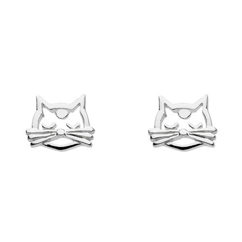 Sterling Silver - Cat Face Studs - Silver Earrings - Silverado