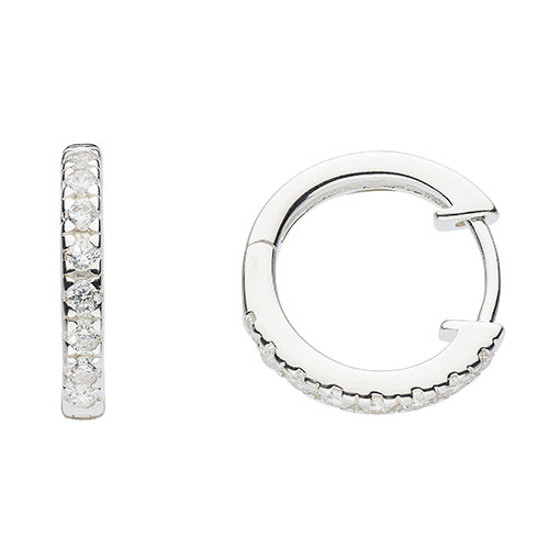 Sterling Silver - Silver Sparkly Hoops - Silver Earrings - Silverado