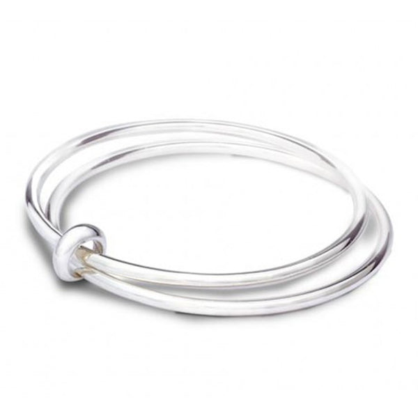 metal connected bangles fashion silver multiple polished