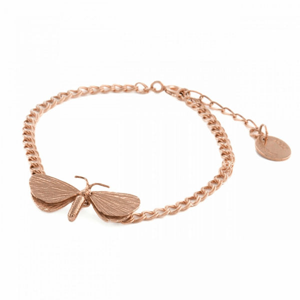 Alex Monroe - Alex Monroe Rose Gold Drab Looper Moth Bracelet - Designer Necklaces - Silverado