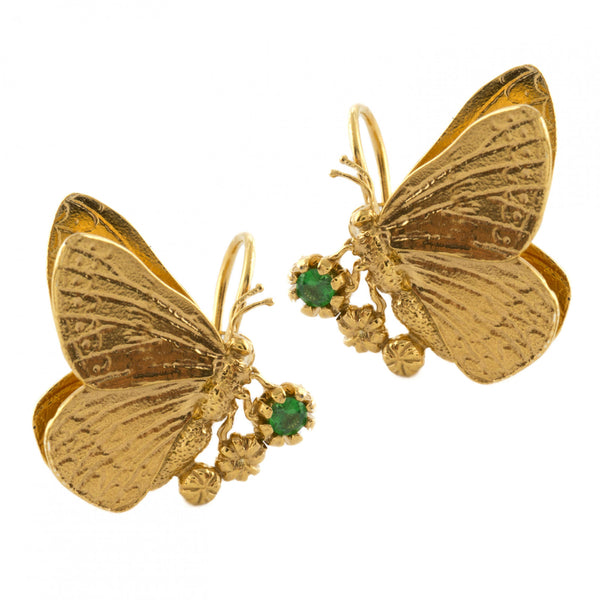 Alex Monroe - Alex Monroe Duke Burgundy & Tsavorite Cluster Hook Earrings - Designer Earrings - Silverado