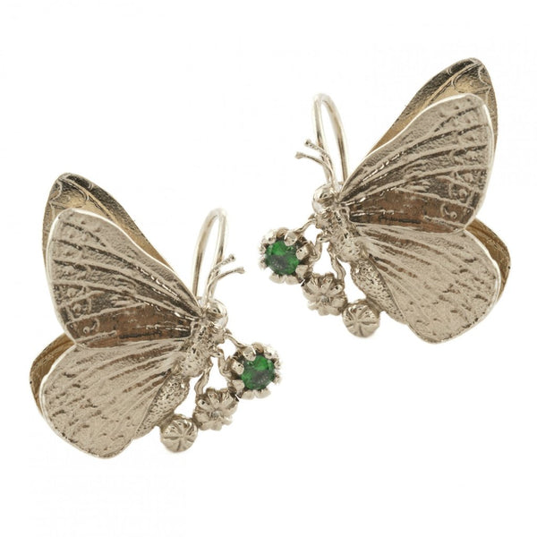 Alex Monroe - Alex Monroe Silver Duke Burgundy & Tsavorite Hook Earrings - Designer Earrings - Silverado