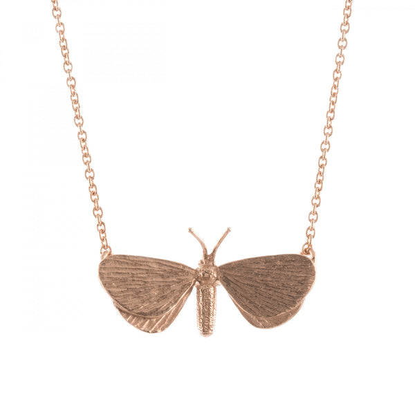 Alex Monroe - Alex Monroe Drab Looper Moth Necklace - Designer Necklaces - Silverado