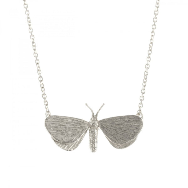 Alex Monroe - Alex Monroe Silver Drab Looper Moth Necklace - Designer Necklaces - Silverado
