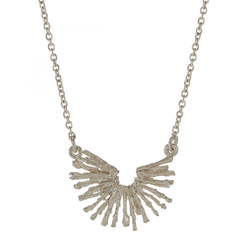 Alex Monroe - Alex Monroe Siver Nest Structure Crescent Necklace - Designer Necklaces - Silverado