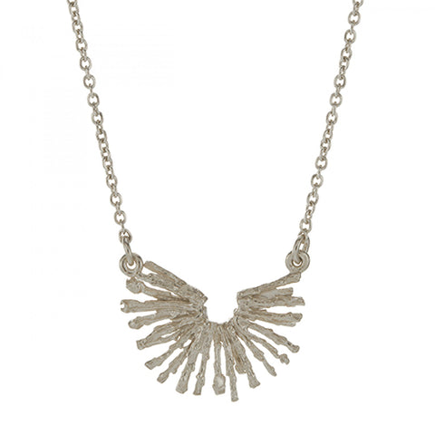 Alex Monroe Siver Nest Structure Crescent Necklace