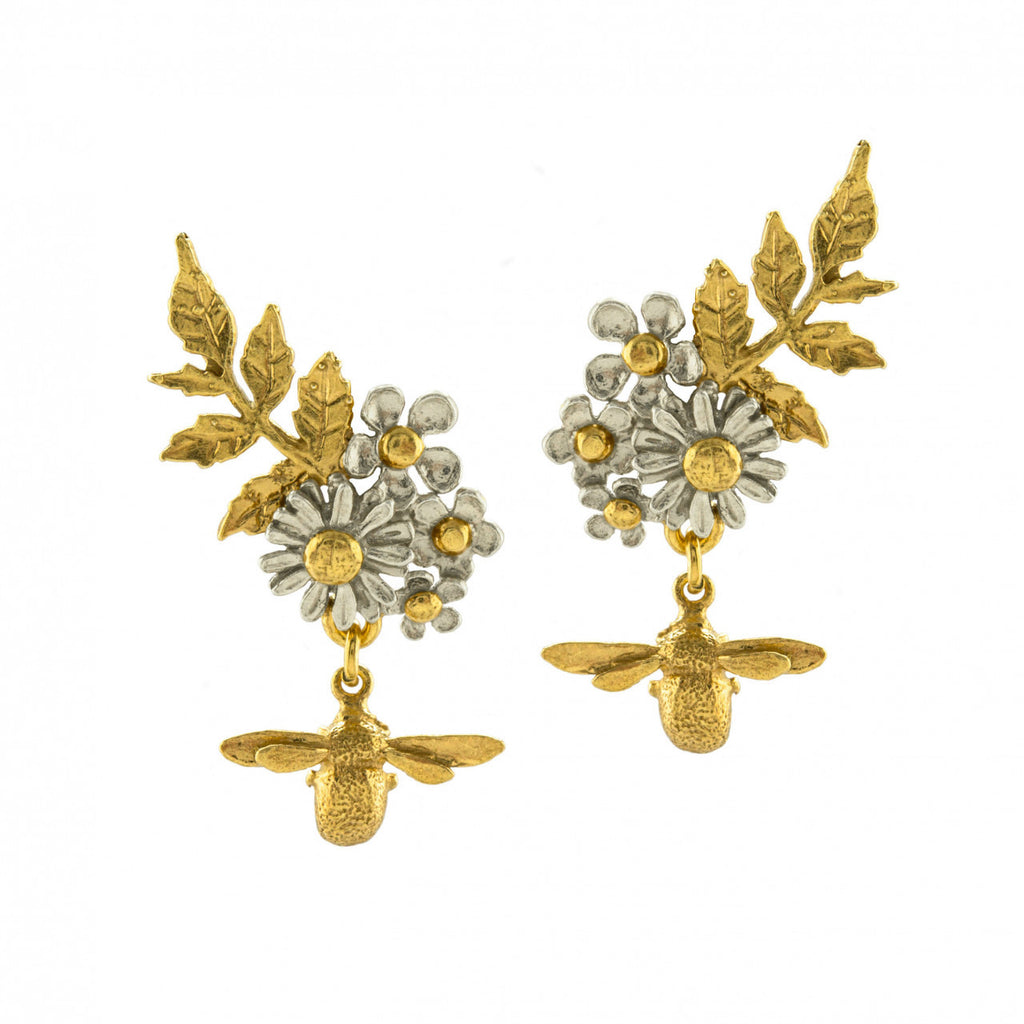 Alex Monroe - Alex Monroe Posy Cluster Bee Earrings - Designer Earrings - Silverado