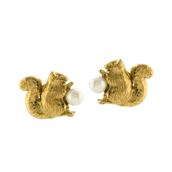 Alex Monroe - Alex Monroe Squirrel and Pearl Stud Earrings - Designer Earrings - Silverado