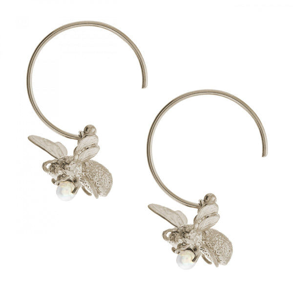 Alex Monroe - Alex Monroe Silver Bee Hoop Earrings - Designer Earrings - Silverado