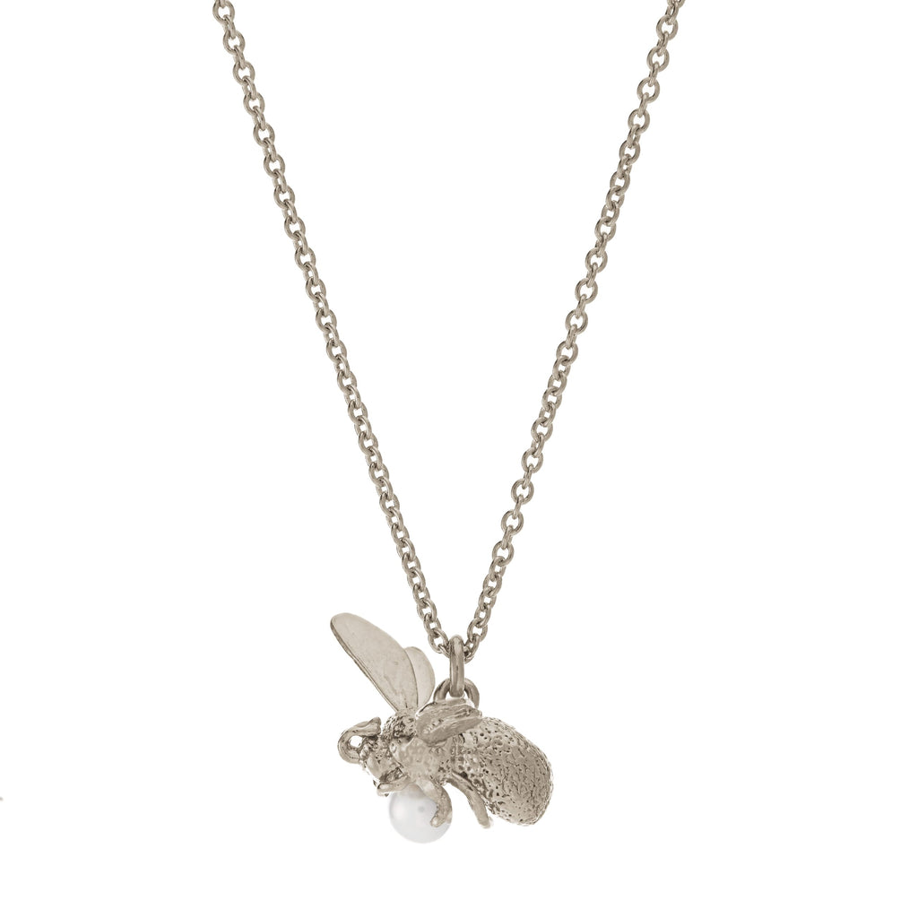 Alex Monroe - Alex Monroe Silver Flying Bee Necklace - Designer Necklaces - Silverado