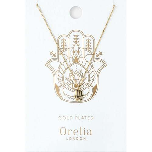 Orelia Gold Plated Spiritual Hamsa Necklace