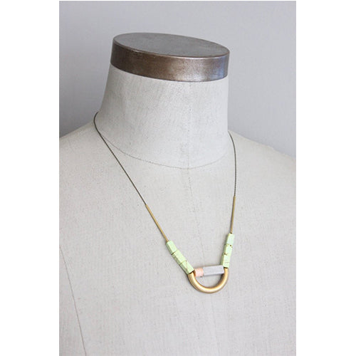 David Aubrey - David Aubrey Pink and Green Necklace - Designer Necklaces - Silverado