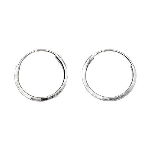 14mm Faceted Silver Hoop