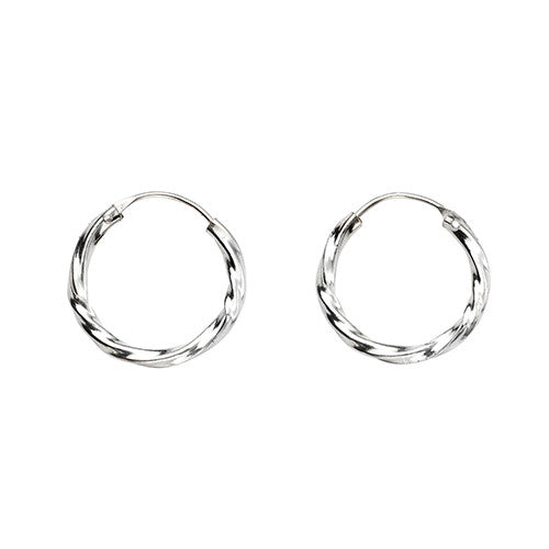 15mm Twisted Silver Hoop