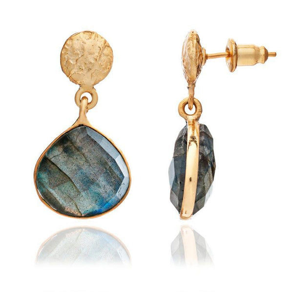 Azuni - Azuni Athena Stone Drop Earrings - Labradorite - Designer Earrings - Silverado