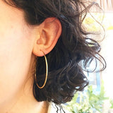 Sterling Silver - 50mm Gold Plated Hoop - Earrings - Silverado