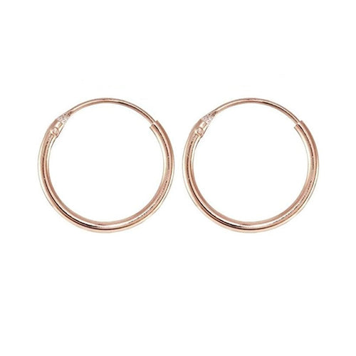 Sterling Silver - 14mm Rose Gold Plated Hoop Earring - Silver Hoops - Silverado