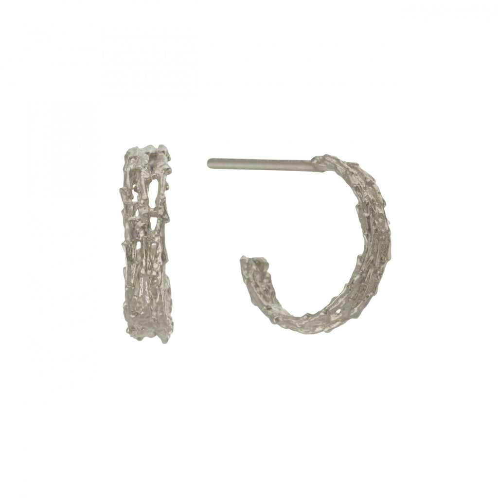 Alex Monroe - Alex Monroe Silver Nest Structure Mini Hoops - Designer Earrings - Silverado