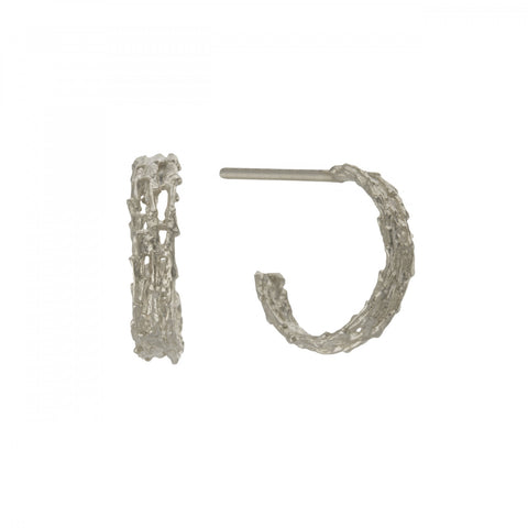 Alex Monroe Silver Nest Structure Mini Hoops